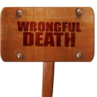 wrongful death, 3D rendering, text on wooden sign