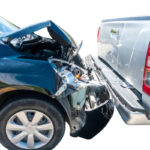 Two car involving crash accident on a white background