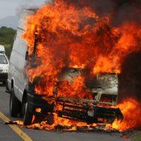 A van in flames