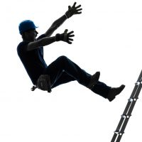 Worker falls off ladder