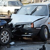 Blue two car accident