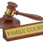 The family court sign with gavel