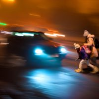 Car almost hits Pedestrians