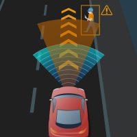 Lane departure warning llghts on car