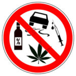 Cautionary sign saying driving and weed doesn't go together.