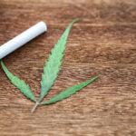 Marijuana leaf and cigarette  Placed on a brown wood floor