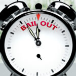 Bail out soon, almost there, in short time - a clock symbolizes a reminder that Bail out is near, will happen and finish quickly in a little while, 3d illustration