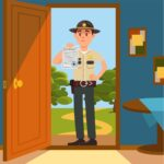 Town male sheriff police officer character in official uniform standing on the doorstep of the house and showing warrant sheet of paper vector Illustration